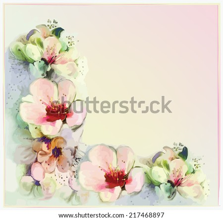 Greeting floral card with stylized spring flowers in pastel colors - stock vector