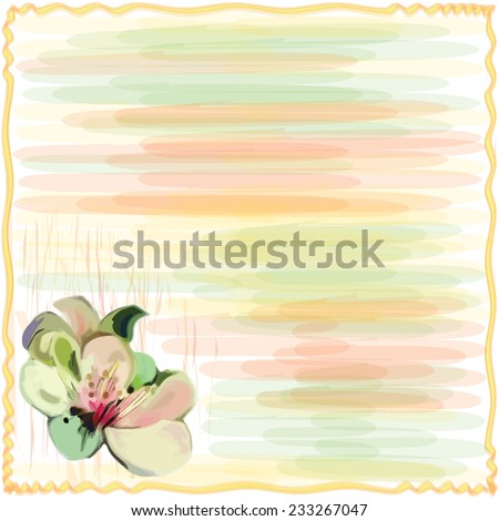 Greeting floral card with wavy frame and stylized flower on grunge striped background in pastel colors - stock vector