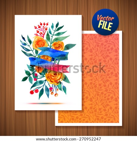 Greeting Floral Vector Watercolor ?ard, Romantic Greeting with Flower and Ribbon. Flowers with ribbon decorative vector illustration on wood background. Beautiful Greeting Backgrounds For Your Design - stock vector