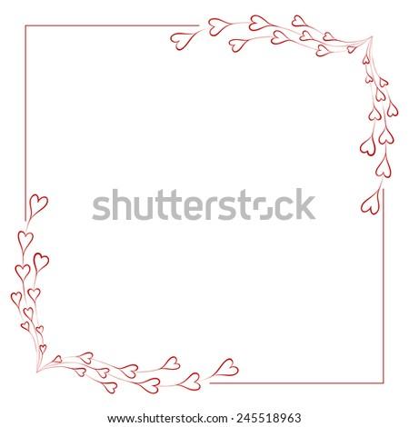 Greeting frame for valentine's day. Vector illustration. - stock vector
