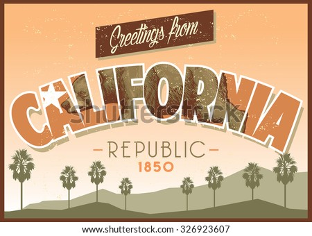 greeting from California in dirty texture - stock vector