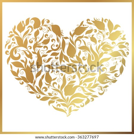 Greeting gold heart elements for design. Vector illustration. Bright illustration, can be used as greeting card, invitations for wedding, birthday, valentine's day .Paisley Doodle Flowers Design. - stock vector