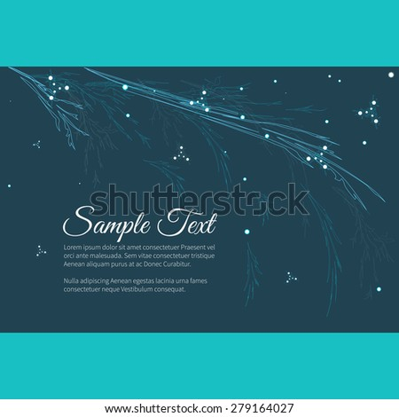 Greeting invitation card with elegant abstract floral motif,  place for text - stock vector