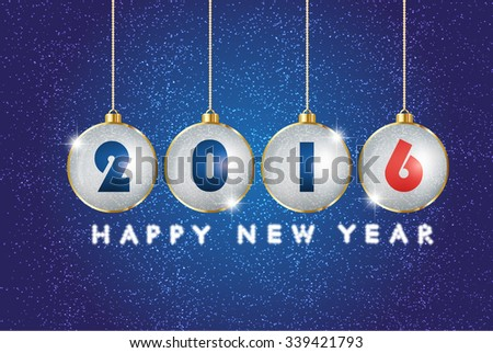 Greeting message text happy new year 2016. Creative stylish design. Vibrant white, red numbers. Winter (December, january). Decorations glamour party. Blur soft effect glare. Glow starry sky in dusk. - stock vector