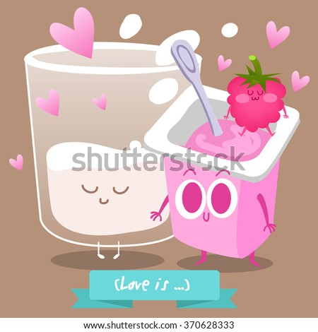 Greeting picture Valentine's Day with raspberry yogurt and a glass of milk. Love is ... Funny and cheerful characters in cartoon style. - stock vector