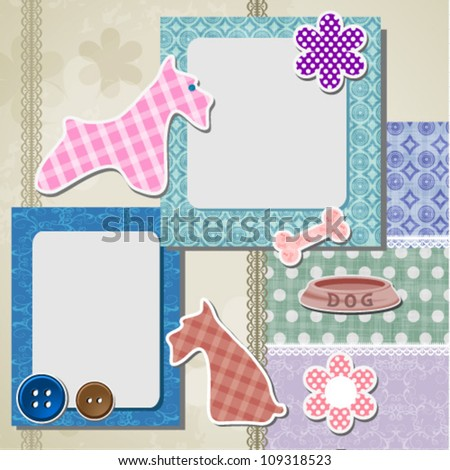 Greeting scrapbook card. eps10 format - stock vector