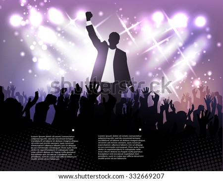 greeting the winner, active public on the background of the spotlights - stock vector