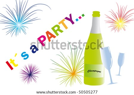 Greeting to a party with bottle and glass with alcohol. - stock vector