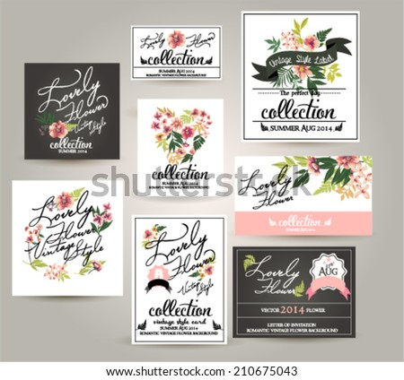 greeting wedding card,romantic labels with flower - stock vector