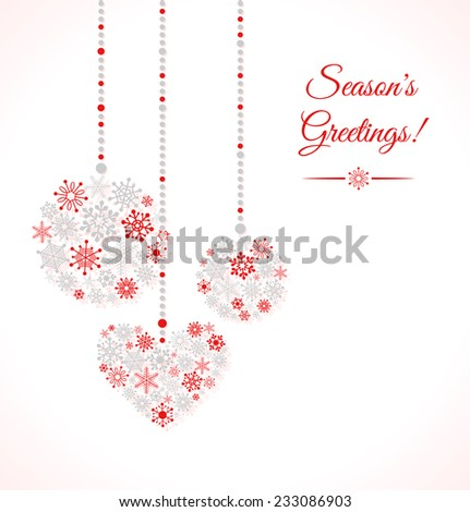 Greetings card with christmas ball made of snowflakes. Vector Illustration - stock vector
