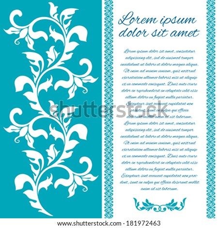 Greetings card with floral ornament - stock vector