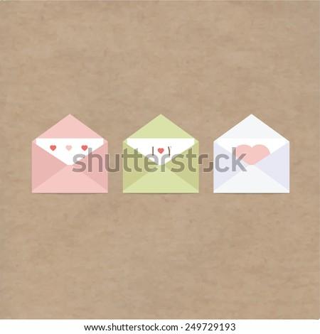 greetings letter envelopes kraft paper - stock vector