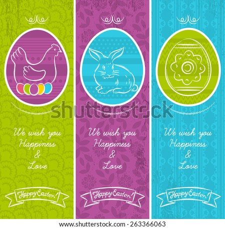Greetings web banner for Easter Day with frame with easter elements, rabbit, hen and easter egg.  Decorative composition suitable for invitations, greeting cards, flyers, banners. - stock vector