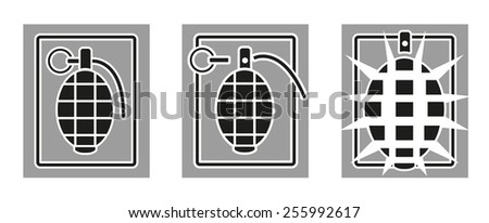 Grenade in action. Three stages. - stock vector