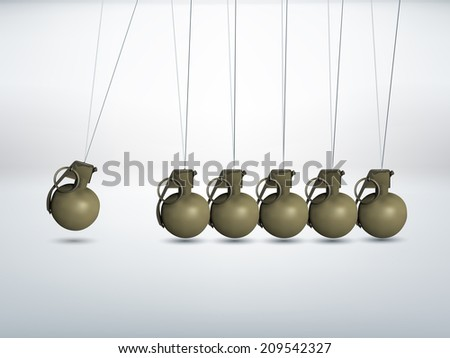 Grenade - Newtons cradle - stock vector