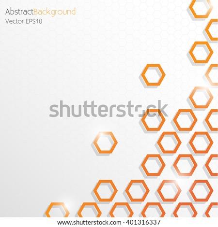 Grey and Orange Hexagonal Honeycomb Abstract Background - Vector EPS10 - stock vector