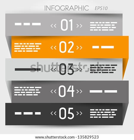 grey and orange zig zag five options in middle. infographic concept. - stock vector