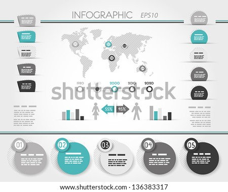 grey and turquoise world round infographic, infographic concept - stock vector