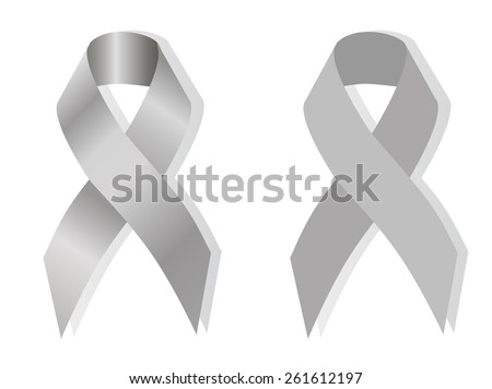 Grey awareness ribbon on white background - stock vector