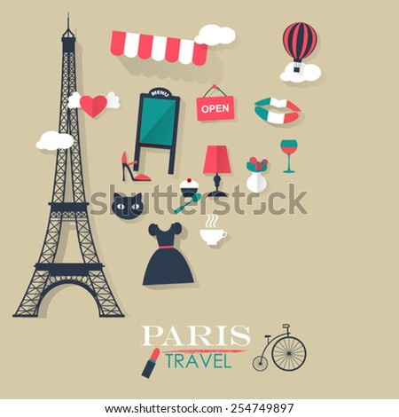 grey background Paris tourist concept image.Vacation flat vector - stock vector