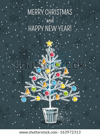 grey background with christmas tree, vector illustration - stock vector