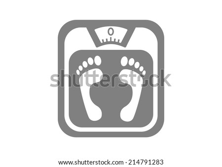 Grey bathroom scale on white background  - stock vector