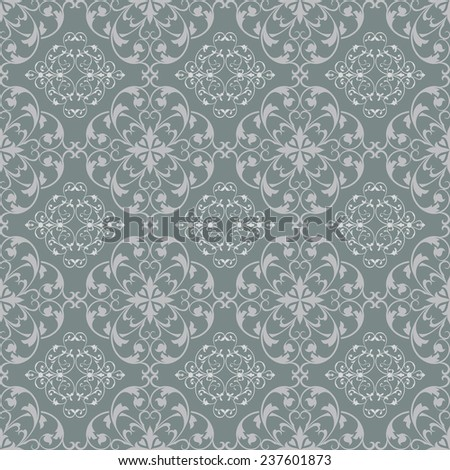 Grey blue seamless vintage vector wallpaper pattern. - stock vector