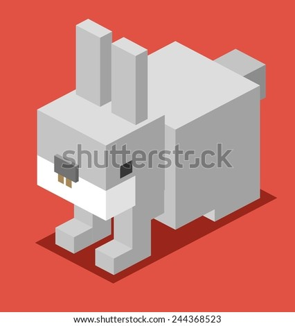 grey bunny. 3d flat isometric vector - stock vector