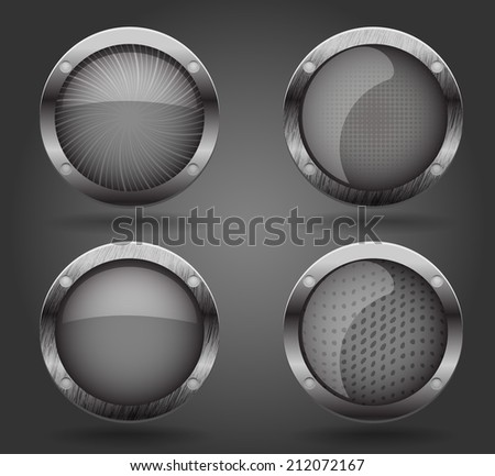 Grey buttons, vector illustration - stock vector