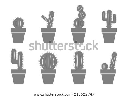 Grey cactus icons on white background - stock vector
