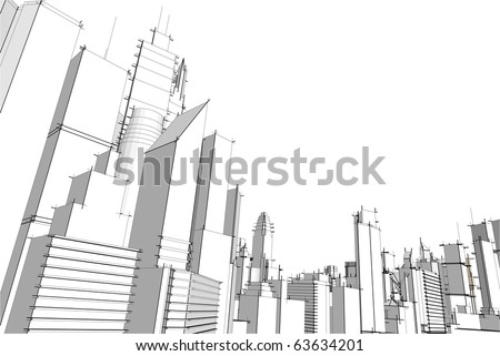 Grey city - stock vector