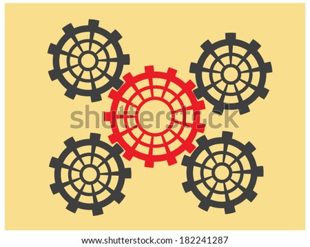 Grey cogs (gears) with red gear in center - stock vector