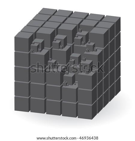 Grey construction set of cubes, vector illustration - stock vector