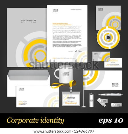 Grey corporate identity template with round digital elements. Vector company style for brandbook and guideline. EPS 10 - stock vector