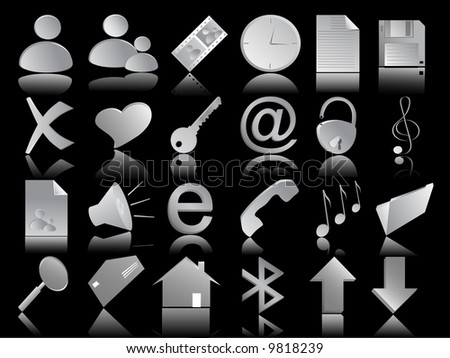 grey icons vector set on the black background - stock vector