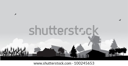 grey landscape with wheat and village - stock vector