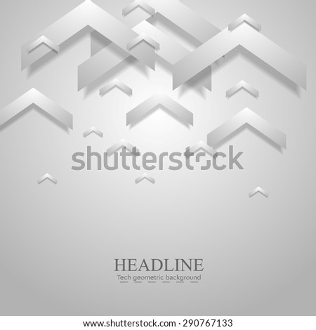 Grey light geometric corporate background with arrows. Vector design - stock vector
