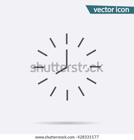 Grey line round clock icon isolated background. Modern simple flat hour sign. Business, internet concept. Trendy vector wait time symbol for web site design or button to mobile app. Logo illustration - stock vector