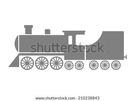Grey locomotive icon on white background - stock vector