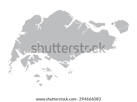 grey map of Singapore - stock vector