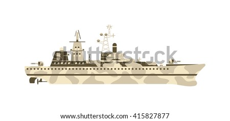 Grey modern warship sailing still water vector. Military ship navy war sea warship and military ship boat vessel weapon. Military ship transportation naval water battle destroyer marine forces. - stock vector