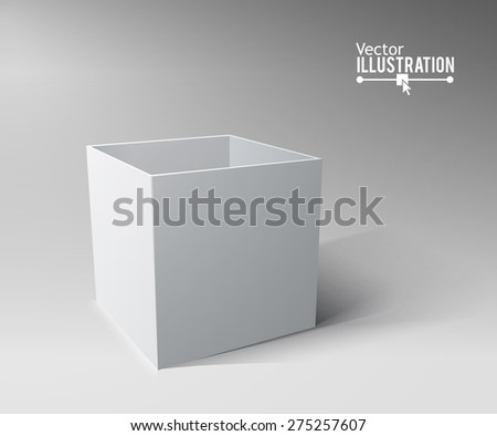 Grey open box with realistic shadows. Vector illustration. Transportation concept. - stock vector