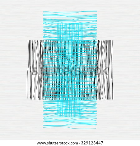 Grey or beige fabric with stripes, burlap, quilting, imitation natural fibers hand art work,  - stock vector
