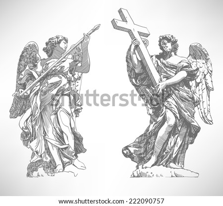 grey original sketch digital drawing of marble statue of two angels from the Sant'Angelo Bridge in Rome, Italy, vector illustration - stock vector