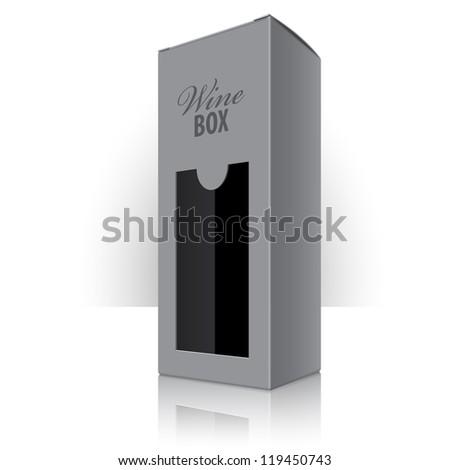 Grey packaging box for wine bottles. Vector illustration - stock vector
