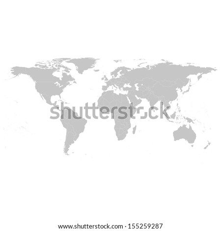 Grey Political World Map Illustration - stock vector