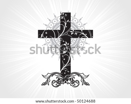 grey rays background with beautiful floral pattern cross - stock vector