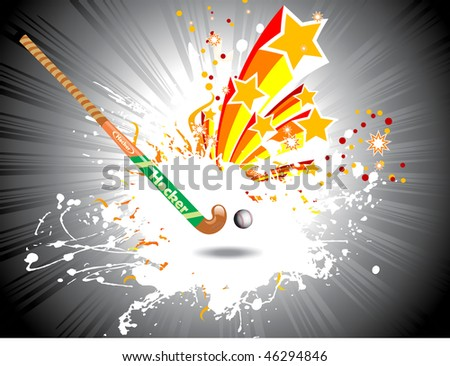 grey rays background with hockey stick and ball, vector grunge and star illustration - stock vector
