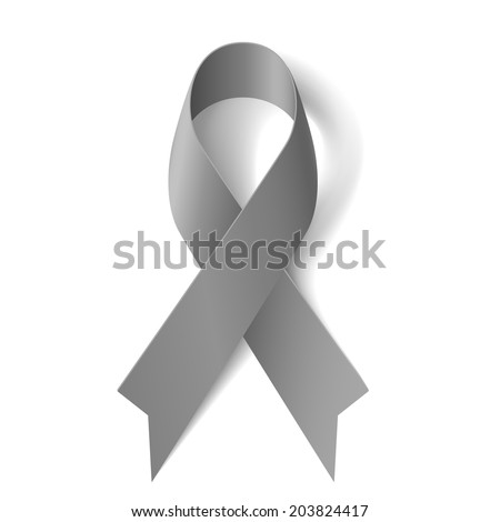 Grey ribbon as symbol of borderline personality disorder, diabetes, asthma and brain cancer awareness - stock vector