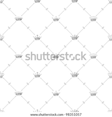Grey seamless pattern with crown symbol, 10eps. - stock vector